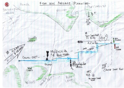 Example Coastal Skipper passage plan from one of our students